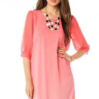 Ombre Horizon Shift Dress in Coral - ShopSosie.com