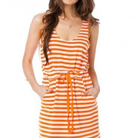 Francis Striped Dress in Orange - ShopSosie.com