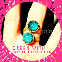 Green with Envy Dual Stone Ring  dark black blue by EverSoLovely