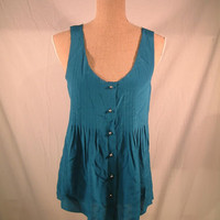 Madewell Broadway & Broome Top L LARGE Teal button front silk sleeveless NEW