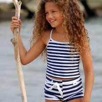 GIRLS TANKINI - NAVY / WHITE STRIPE by SNAPPER ROCK