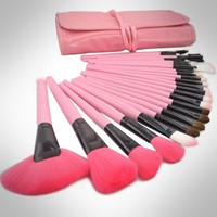 Roll up Case Cosmetic Brushes Kit 24 PCS Pro Wooden Handle Makeup Brush Tool