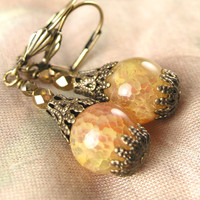 Peach Yellow Agate Earrings Golden Gemstone Earrings Antique Gold Earrings Semiprecious Stone Earrings