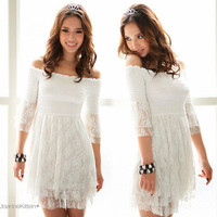 Trendy Western Womens Lovely White Off shoulder Lace 3/4 Sleeves Sexy Mini Dress