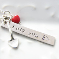 Romantic necklace I dig you sterling silver by JanuaryGirlJewelry