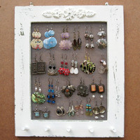 JEWELRY DISPLAY RACK Organizer Cream Shabby Chic / 25 by tammnoony
