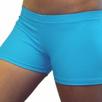 Bright Neon Blue Turquoise 2.5 inch inseam Spandex Compression Short