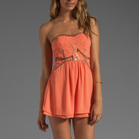 Ladakh Diamond Heart Romper in Apricot