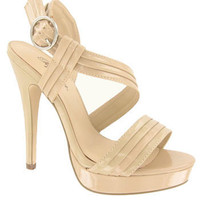 Dark Beige Cross Strap Open Toe Platform Sandals and wide range of Unique High Heel Sandals at ElectriqueBoutique.com