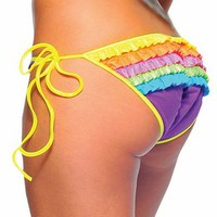 Rave clothes, rave outfits, ruffled bottoms, colorful stripperwear, colorful dancewear, colorful clubwear