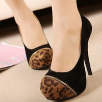 Sexy Leopard Print Patchwork Vogue Women Shoes Stilettos High Heels Zipper 1mL