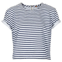 MOTO Stripe Denim T Shirt - Tops  - Clothing