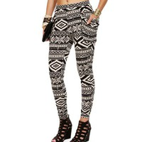 WhiteBlack Tribal Print Harem Pants