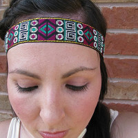 Boho Headband Indian Ribbon Bohemian Tribal Women's Fashion Hair Bands, Head Wraps, Boho band