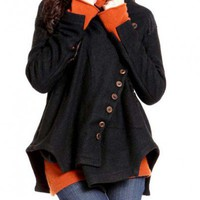 Black Casual Irregular Sweep Multi-buttons Woolen Coat- NC195 | StylishLife - Clothing on ArtFire