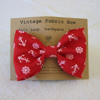 Red Nautical Fabric Hair Bow