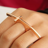 Curved Fashion Cross Single Finger Ring | LilyFair Jewelry