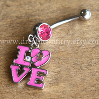 Love Belly Button Rings, hot pink belly button ring