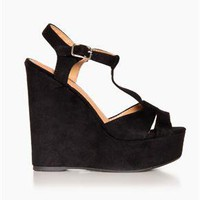 Suede Platform Wedges in Black