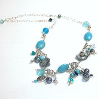 Unique Necklace of Wire Wrapped Turquoise, Glass, and Shell | GracefulArts - Jewelry on ArtFire