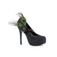 ELLIE Black Iridescent Peacock Heels - Unique Vintage - Prom dresses, retro dresses, retro swimsuits.