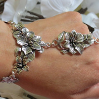 Cherry Blossom Slave Bracelet, Ring Bracelet, Silver, Overlay, Silver plated, Hand Jewelry, Earthy, Hippie, Custom, Sized, Floral, OOAK