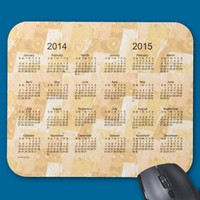Gold Patchwork 2 Year 2014-2015 Calendar Mousepad from Zazzle.com