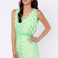 Top of the Incline Mint Green and Ivory Striped Dress