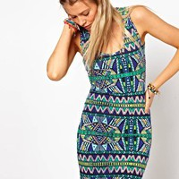 ASOS Bodycon Dress In Bright Aztec Print at asos.com