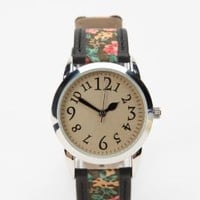 $39.00 Ditsy Floral &amp; Leather Watch - Urban Outfitters