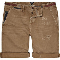 Brown Holloway Road distressed turn up shorts - chino shorts - shorts - men