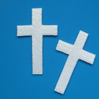 2 pcs iron on Embroidered Patch Cross 2.4 inch
