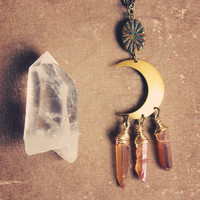 angel moon.  a peach mystic quartz crescent moon necklace.