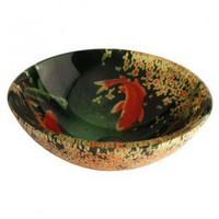 Fontaine Koi and Lily Pond Glass Vessel Sink - FSA-VS-PSZ003D - Bathroom Sinks - Bathroom Fixtures - Bed & Bath