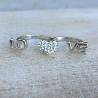 Sparkling Love Ring [3915] - $12.00 : Vintage Inspired Clothing & Affordable Summer Frocks, deloom | Modern. Vintage. Crafted.