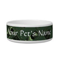 Green Jewel - Tiled Pattern Cat Bowl from Zazzle.com