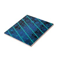 Diagonal Blues Abstract Pattern Ceramic Tile from Zazzle.com