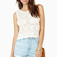 Camille Lace Crop Top - Ivory