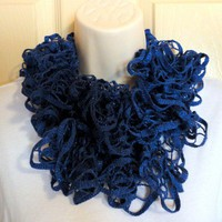 Ruffled Scarf Deep Blue with Metallic Bling Crocheted Fashion