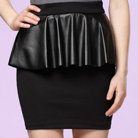 Pleather Peplum Pencil Skirt