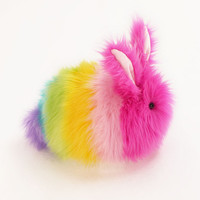 Girly Rainbow Rabbit Stuffed Toy Pastel Plush Fuzzy Bunny  Large Size