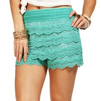 Deep Mint Crochet Shorts