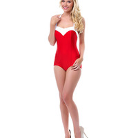 50's Style Red & White Two Tone Princess One Piece Swimsuit - Unique Vintage - Prom dresses, retro dresses, retro swimsuits.