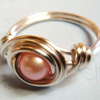 Pink Freshwater Pearl Bead Sterling Silver Wire Wrapped Ring | spiralsandspice - Jewelry on ArtFire