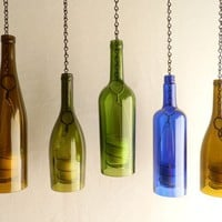 Green Glass Wine Bottle Hanging Hurricane Lantern | BoMoLuTra - Candles on ArtFire