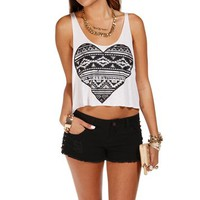 BlackWhite Tribal Heart Cropped Tank Top