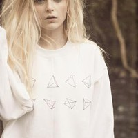 Hand Drawn White Pyramids Jumper from We Are Hairy People