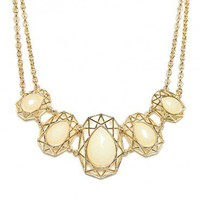 Geo Dome Necklace in Ivory - ShopSosie.com