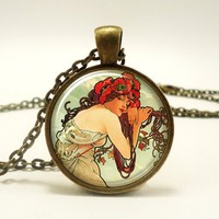Alphonse Mucha Art Pendant, Art Nouveau Charm With Necklace, Bronze...... | CellsDividing - Jewelry on ArtFire
