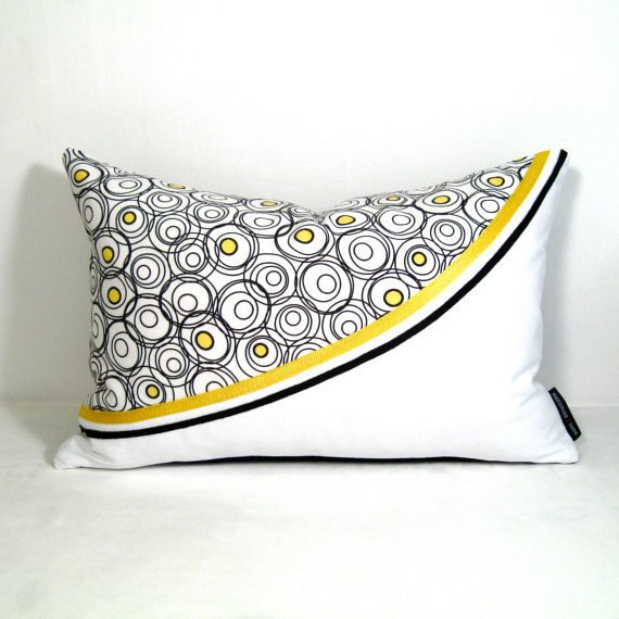 Black White And Yellow Decorative Pillows : Yellow Black White Pillow Cover from Mazizmuse on Etsy